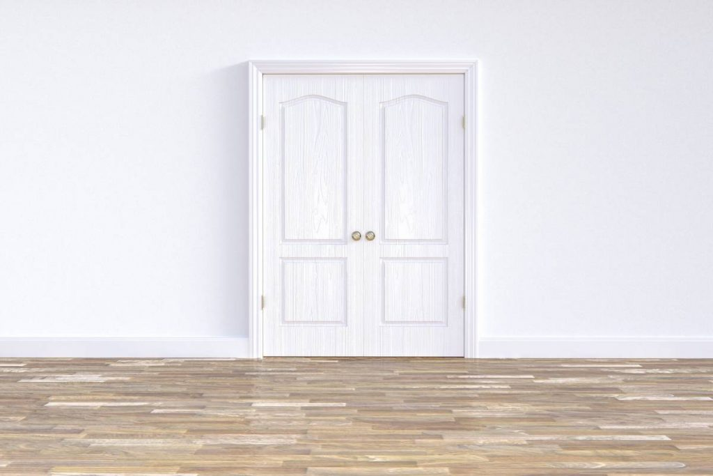 Бяла двукрила интериорна врата и бяла стена