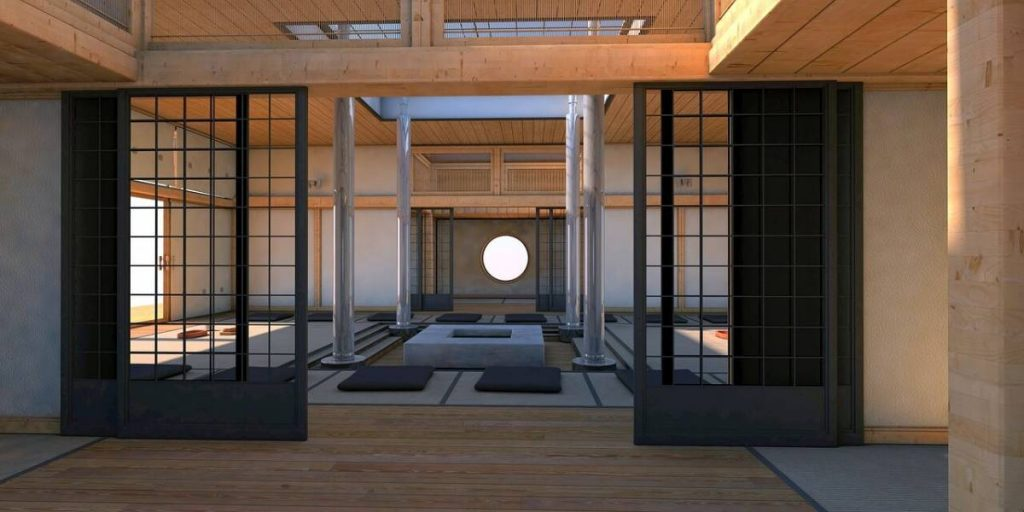 A Japanese house with a traditional Shoji sliding door in the foreground